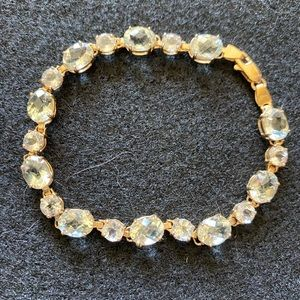 Pale Green & White Spinel 14K Yellow Gold Bracelet